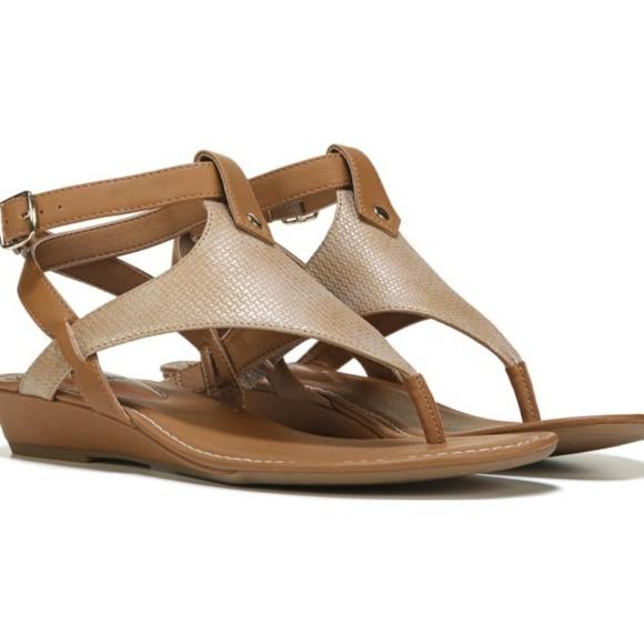 8e4519fafc0 Sofft Eurosoft Missy Gold Tan Wedge Sandals. M 5b463dcb0cb5aa4a61311396